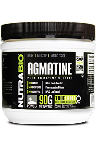 NutraBio Agmatine Sulfate Powder - Boosts Nitric Oxide for b