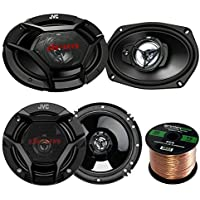 Car Speaker Package Of 2x JVC CS-DR6930 6x9 500 Watt 3Way Vehicle Stereo Coaxial Speakers Bundle Combo With 2x CS-DR620 6.5 300W 2-Way Audio Speakers,  Enrock 50 Foot 16 Guage Speaker Wire