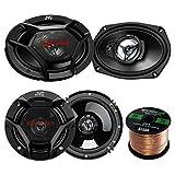 "Car Speaker Package Of 2x JVC CS-DR6930 6x9"" 500 Watt 3Way Vehicle Stereo Coaxial Speakers Bundle Combo With 2x CS-DR620 6.5"" 300W 2-Way Audio Speakers,  Enrock 50 Foot 16 Guage Speaker Wire"