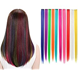 LiaSun 10Pcs/set Multi-Colors Straight Highlight Clip in Hair Extensions 20 Inch Colored Party Hair Pieces for Kids Grils Women (Multicolor)