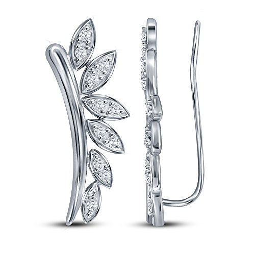 La Joya Mother's Day 1/4CT TW Diamond Sterling Silver Petals Climber Ear Cuff Ear Jacket Earring Independence Day Sale