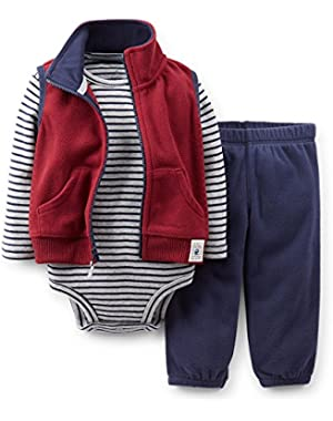 Carter's Baby Boys' 3 Piece Microfleece Vest Set (Nb, Dark Red Navy)