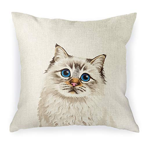 WIRESTER Sofa Pillow Case, Decorative Throw Pillow Cushion Cover for Home Office 18 x 18 Inch, Cute Seal Lilac Tabby Point Birman Cat