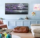 Konda Art - Framed Handmade Purple Flower Oil