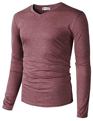 H2H Mens Casual Premium Soft Spandex Cotton Long Sleeve V-Neck T-Shirts Burgundy US M/Asia L (CMTTL0107)