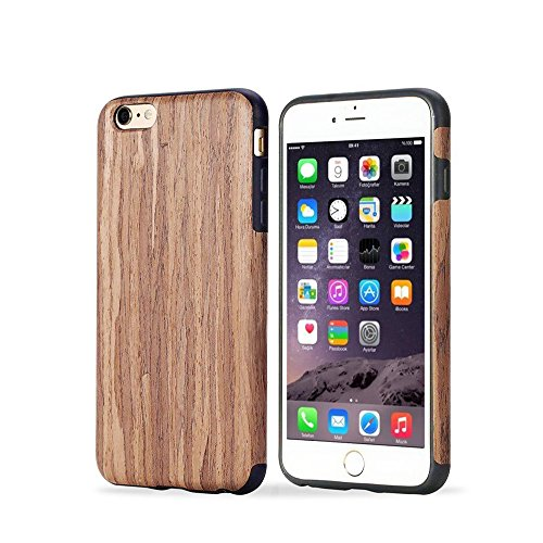 TabPow iPhone 6 Case, Phone 6s Case, [Shockproof][Drop Protection][Heavy Duty] Dual Layer Slim Hybrid PU Wood Case Cover for iPhone 6 / iPhone 6S (4.7 Inch) (Rosewood)