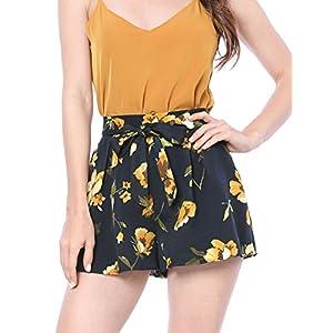 Allegra K Women's Printed Elastic Tie High Waist Culottes Beach Summer Shorts