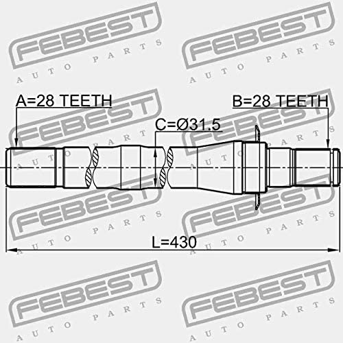 1212-CM10AT4WD Febest RIGHT SHAFT 28X430X28