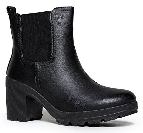 Shaft Platform Boot - Womens Vegan Leather Chelsea Boot - Lightweight Pull on Casual Ankle Bootie