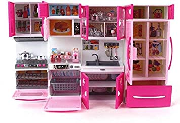 Buy Toys World Kids Plastic Barbie Kitchen Play Set Cooking Kitchen Set Play Toy 4 Fold Multi Color Online At Low Prices In India Amazon In