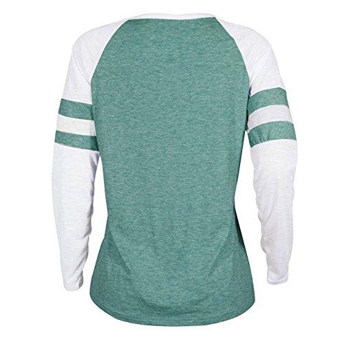 Chemisier Shirts Vert Manche T Couleur Shirt Soie Bloc Chemisier Lonshell Tops Vetements Blouse amp;Automne de de Lettre Lache Hiver Printemps imprime Dame Femme Fermeture de Swx8PqnEH