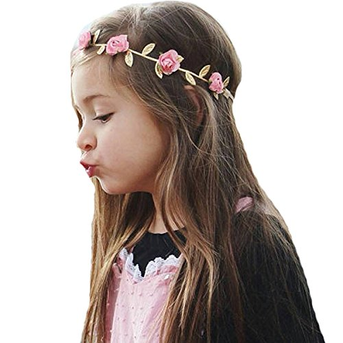 Leaves Bow (Miugle Baby Girl Gold Leaves Headbands with Bows)