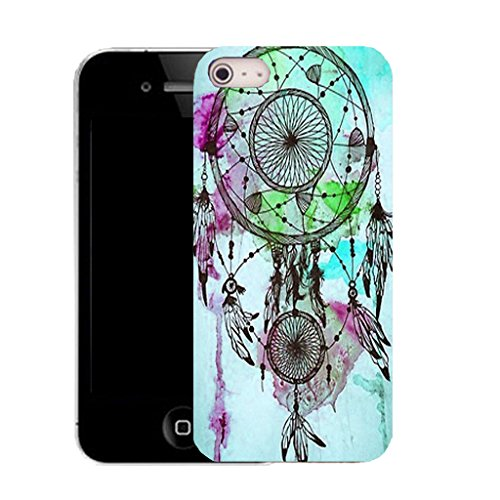 Mobile Case Mate IPhone 4s clip on Silicone Coque couverture case cover Pare-chocs + STYLET - BLUE DREAMCATCHER pattern (SILICON)