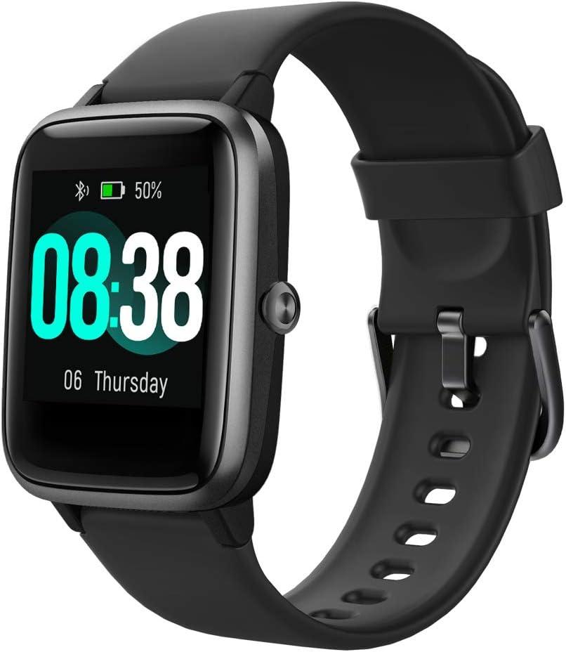 YONMIG Reloj Inteligente Smartwatch Hombre y Mujer Pulsera Actividad Deportivo Impermeable IP68 con Monitor de Sueño, Pulsómetro, Pantalla Táctil Completa Reloj Fitness para Android y iOS (Negro)