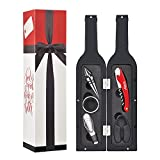 Wine Bottle Accessories Gift Set - 5 Pcs Wine Opener Corkscrew Screwpull Kit with Drink Stickers by Kato, Perfect Wedding Gifts for Wine Lover & Drinker, Silver