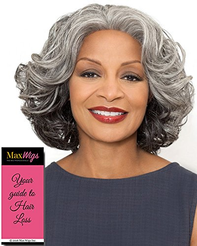Esther Wig Color 3T51 - Foxy Silver Wigs Shoulder Length Wavy Synthetic Lace Front African American Women's Stitched Wefted Lightweight Average Cap Bundle with MaxWigs Hairloss Booklet -