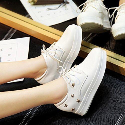 Plate-forme Étoilée Latasa Femme À Lintérieur Bas Wedges Chaussures Blanches Oxford