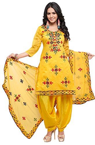 EthnicJunction Women's Cotton Dress Material (EJ1180-88018_Yellow_FS)