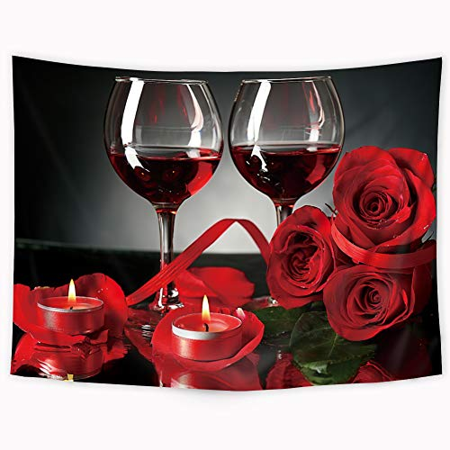 Riyidecor Red and Black Rose and Wine Tapestry Banquet Floral Blooming Flower Romantic Lovers Tapestry Beauty Elegant Valentine's Day French Style Wall Hanging Indigenous Bedroom Living Room 51x59Inch