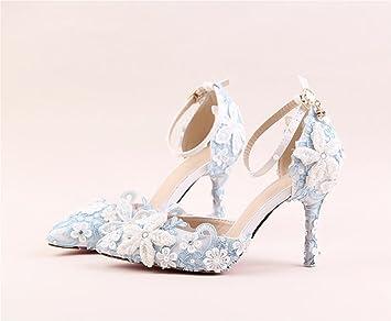 szxc Zapatos de novia blancas de la perla del flor del encaje de las mujeres sandalias
