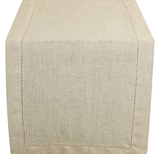 Linen Clubs Linen Table Runner in Natural,Size 14x72 Inches with 100% Pure Linen - Hand Crafted, Hand Stitched Table Runner with Hemstitch Detailing Offered