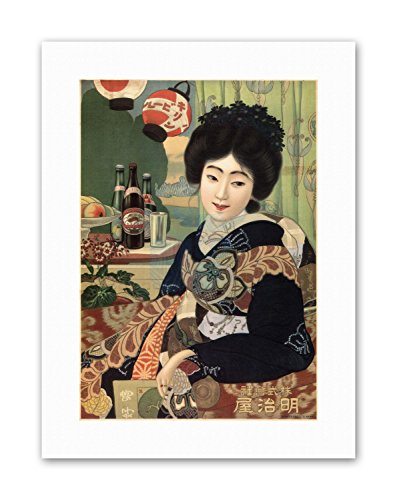 (Wee Blue Coo AD Kirin Beer Alcohol Japan Geisha Canvas Art Prints)