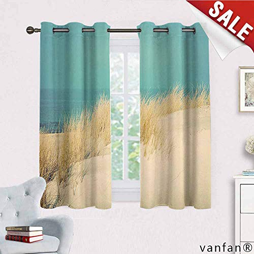 Big datastore Wide Tap Curtain Set for Living Room,Calm Sunny Beach Scenery with Sand Dunes Morning in Baltic Sea Tranquil Picture Curtain Liners for Drapes Blackout,Cream Teal W63 x L45