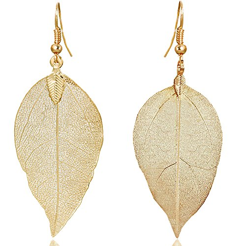 ZSE Jewelry Leaf Earring Vintage Golden Bohemian Pure Natural Leaf Charm Drop Earrings for (Gold Leaf Earrings)