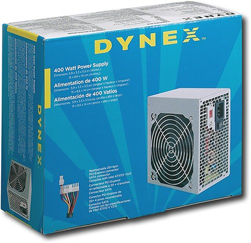 Dynex DX-400WPS 400 Watt ATX PCIe SATA PC Power Supply