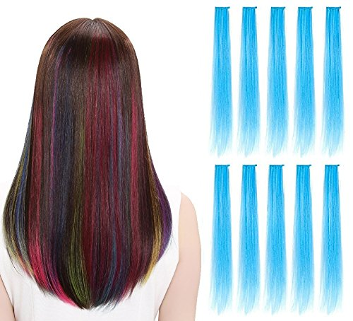 LiaSun 10Pcs/set Multi-Colors Straight Highlight Clip in Hair Extensions 20 Inch Colored Party Hair Pieces for Kids Grils Women (Sky -
