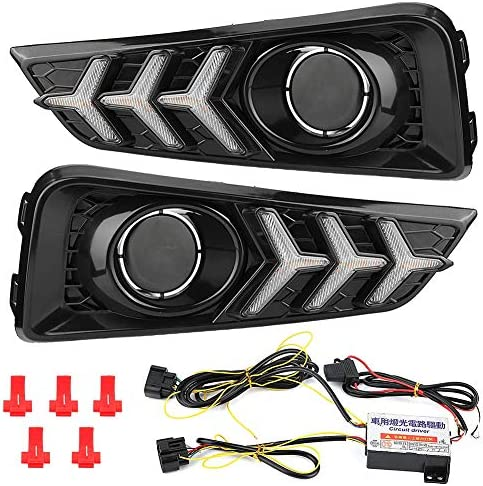Duokon 1 Pair Car Daytime Running Light Turn Signal 3-Color Super Bright DRL LED Fog Lamp Cover for City 15-1 / Duokon 1 Pair Car Daytime Running Light Turn Signal 3-Color Super Bright DRL LED Fog Lamp Cover for City 15-1