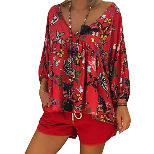 Papillon Chemisier Bureau Lache Cou T Blouse Longue Automne Rouge Casual Imprim Chic Shirt Top Printemps Dihope Chemise Affaires Femme Manche V qwtFTOB