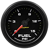 AutoMeter 9261 Extreme Environment Fuel Pressure Gauge 2-1/6 in. 0-15 PSI Black Dial Face Fluorescent Red Pointer Black Bezel White LED Lighting Extreme Environment Fuel Pressure Gauge