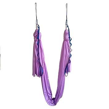 Hamaca elástica para pilates y yoga aéreo, de Wellsem®. Con mosquetón y cadena margarita. 5 m, Lavander