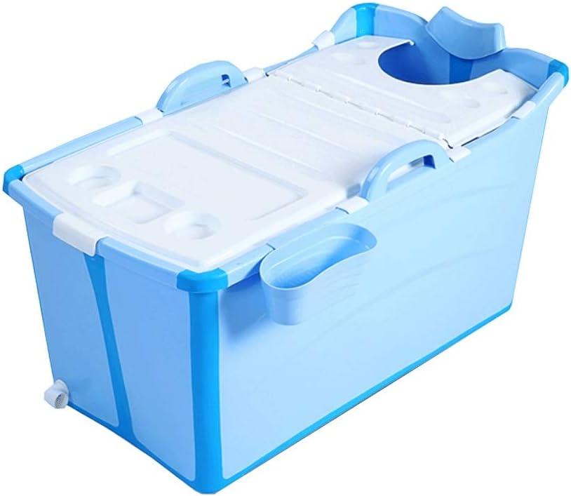 Esperanzaxu Bañera Plegable de plástico portátil de bañera de hidromasaje de Aislamiento y sin la Tapa del Cubo Grueso de la Ducha for el Cabrito/Adulto Uso, 91x50x53cm (Color : Blue)