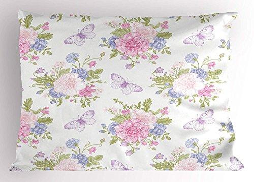 lsrIYzy Shabby Chic Pillow Sham, Flowers Floral Design Buds Butterflies Ivy Swirl Art, Decorative Standard Queen Size Printed Pillowcase, 30 X 20 inches, Light Pink Peach Purple ()