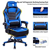 KILLABEE Big and Tall 400lb Memory Foam Reclining Gaming Chair – Adjustable Back Angle and Retractable Footrest Ergonomic High-Back Leather Racing Executive Computer Desk Office Chair, Blue&Black For Sale