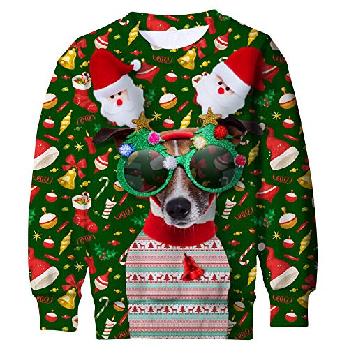 Funnycokid Big Boys Fleece Sweatshirt Christmas Sweater Popular Girls Ugly Crew Neck Pullover Sports X-mas Jumper Green ()
