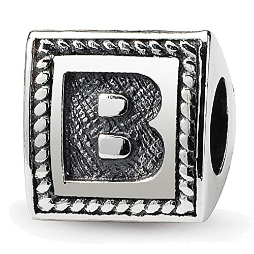 (Lex & Lu Sterling Silver Reflections Letter B Triangle Block Bead-Prime)
