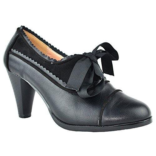 Black Lace Up Pump Heels - Women's Heeled Oxford Classic Retro Two Tone Wing Tip Cut-Out Lace Up Kitten Heel Mary Jane Pump Black 7