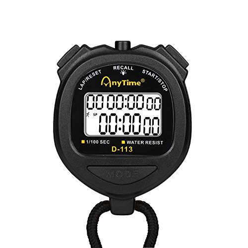 Flexzion Digital Stopwatch Timer Clock Countdown Stop Watch Water-Resist w/Large Display Professional Handheld Chronograph Timepiece for Sports Swimming Running Track & Field Classroom Coach (Black) ()