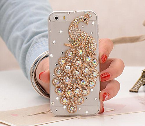 iPhone 8 Plus/iPhone 7 Plus Daimond Case,Jesiya Luxury 3D Handmade Shiny Crystal Sparkle Rhinestone Bling Diamond Skin High Clear Glitter Peacock Case for iPhone 7 Plus 5.5