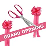 Grand Opening Kit - 36'' Pink/Silver Ceremonial Ribbon Cutting Scissors with 5 Yards of 6'' Pink Grand Opening Ribbon and 2 Pink Bows