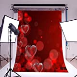 LB 5x7ft Valentine's day Vinyl Photography Backdrop Red Glass Heart Romantic Customized Photo Background Studio Prop VD190