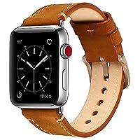 Compatible con Apple Watch Band 42mm 44mm Mkeke Bandas iWatch de cuero genuino Vintage Brown