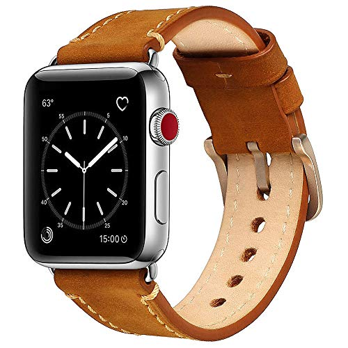 Mkeke Compatible with Apple Watch Band 42mm 44mm Mkeke Genuine Leather iWatch Bands (A-Brown)
