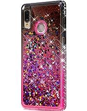 ikasus - Carcasa para Huawei P20 Lite, diseño de lirio flotante, con purpurina brillante y diamantes de imitación, color degradado suave, carcasa de TPU para Huawei P20 Lite Bling, Negro rosado, Huawei P20 Lite