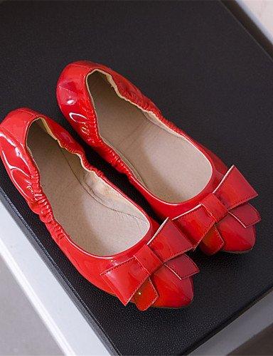 Mujer Eu36 casual Rojo negro Uk4 Cn36 Patentado Pink us6 tac¨®n cuero Red Zq bailarinas Puntiagudos us6 Rosa Plano bailarina d6SdW4q