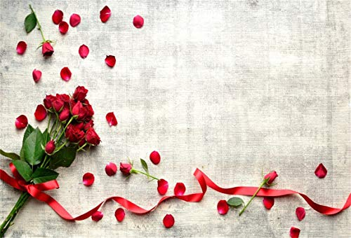 CSFOTO 8x6ft Background Red Rose Bouquet with Ribbon Petal Grunge Photography Backdrop Blossom Floral Holiday Surprise Valentine Day Lover Engagement Date Photo Studio Props Vinyl Wallpaper ()