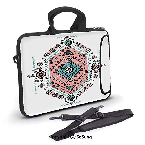 17 inch Laptop Case,Mexican Native American Ethnic Symmetrical Four Corner Art Pattern Neoprene Laptop Shoulder Bag Sleeve Case with Handle and Carrying & External Side Pocket,for Netbook/MacBook Air (Nice Girls Never Get The Corner Office)
